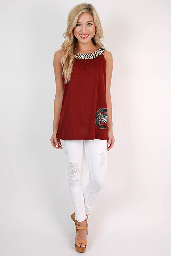 Embellished Neckline Tank University of South Carolina