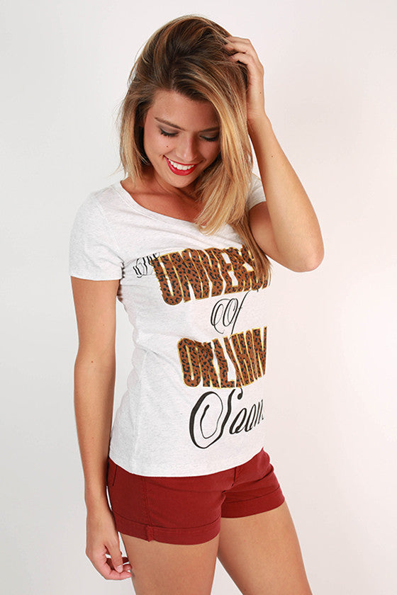 Leopard & Foil Scoop Tee University Of Oklahoma