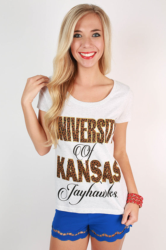 Leopard & Foil Scoop Tee University Of Kansas