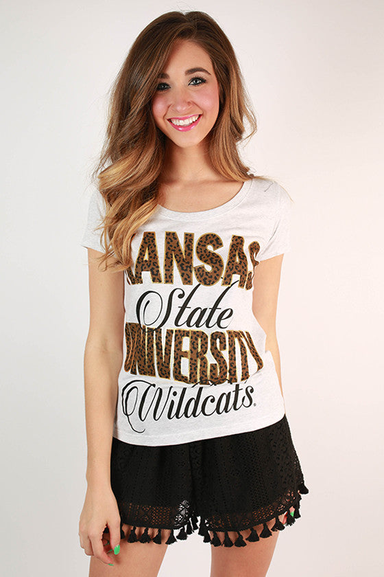 Leopard & Foil Scoop Tee Kansas State University