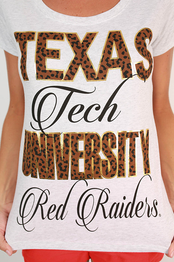 Leopard & Foil Scoop Tee Texas Tech University