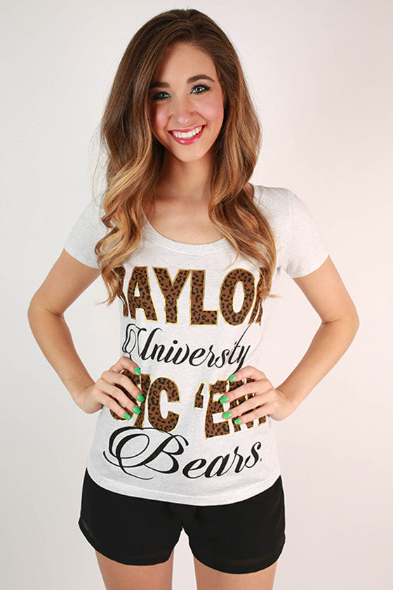 Leopard & Foil Scoop Tee Baylor University