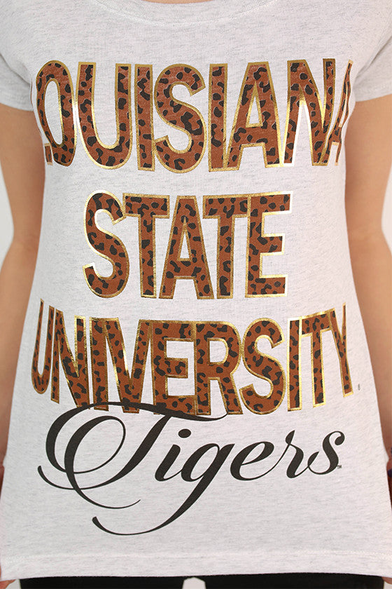 Leopard & Foil Scoop Tee Louisiana State University