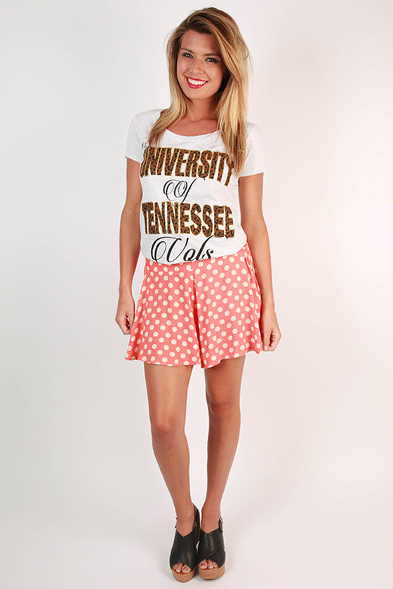 Leopard & Foil Scoop Tee University Of Tennessee
