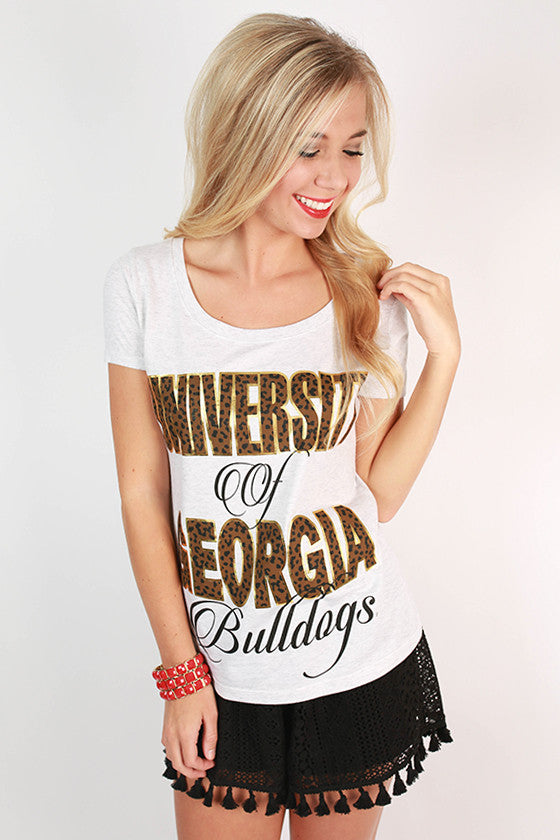 Leopard & Foil Scoop Tee University Of Georgia