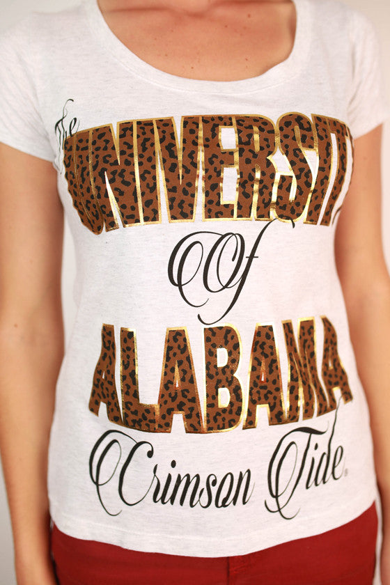 Leopard & Foil Scoop Tee University Of Alabama