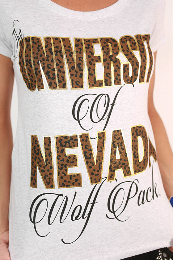 Leopard & Foil Scoop Tee University Of Nevada