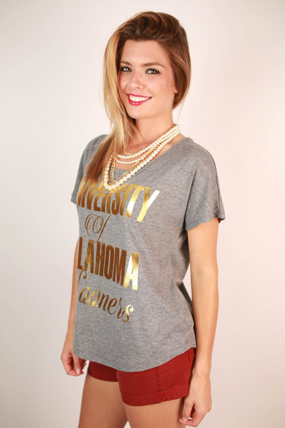 Metallic Foil Dolman Tee University Of Oklahoma