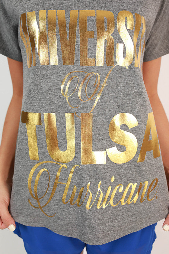Metallic Foil Dolman Tee University Of Tulsa