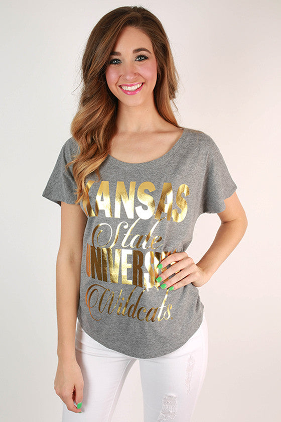 Metallic Foil Dolman Tee Kansas State University