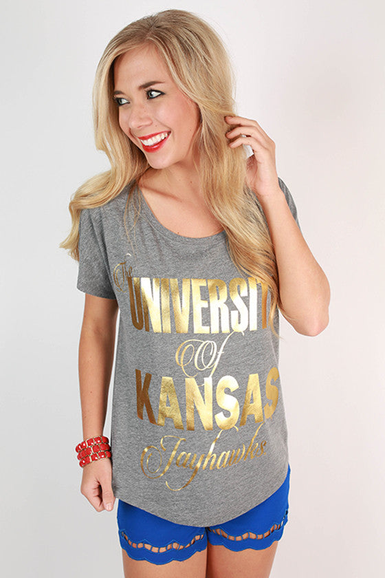 Metallic Foil Dolman Tee University Of Kansas