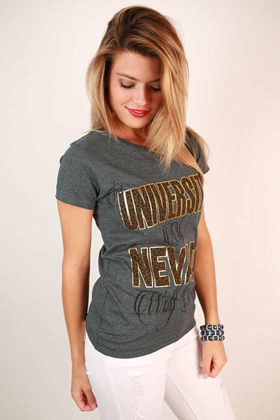 Leopard & Foil Crew Tee in Slate University of Nevada