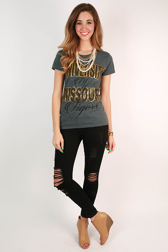 Leopard & Foil Crew Tee in Slate University of Missouri