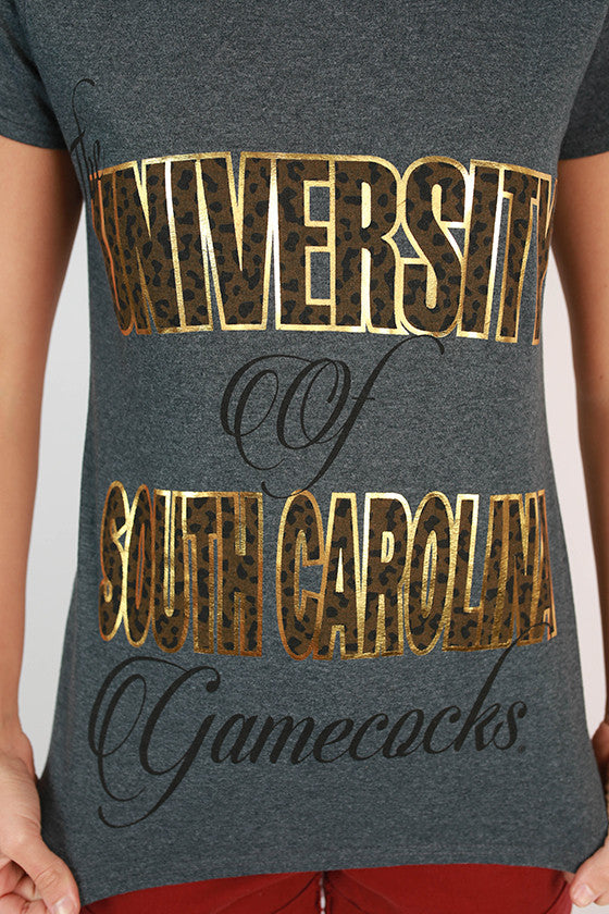 Leopard & Foil Crew Tee in Slate University of South Carolina