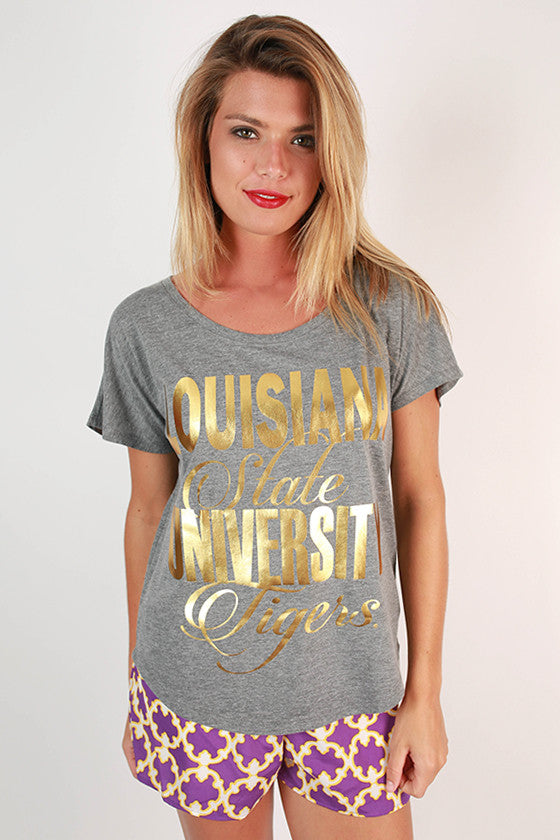 Metallic Foil Dolman Tee Louisiana State University
