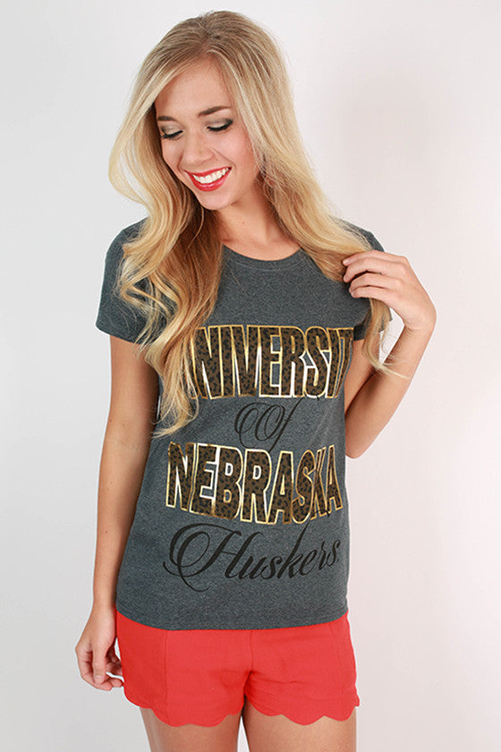 Leopard & Foil Crew Tee in Slate University of Nebraska