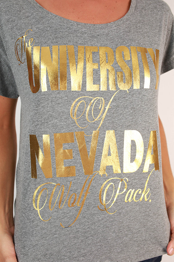 Metallic Foil Dolman Tee University Of Nevada