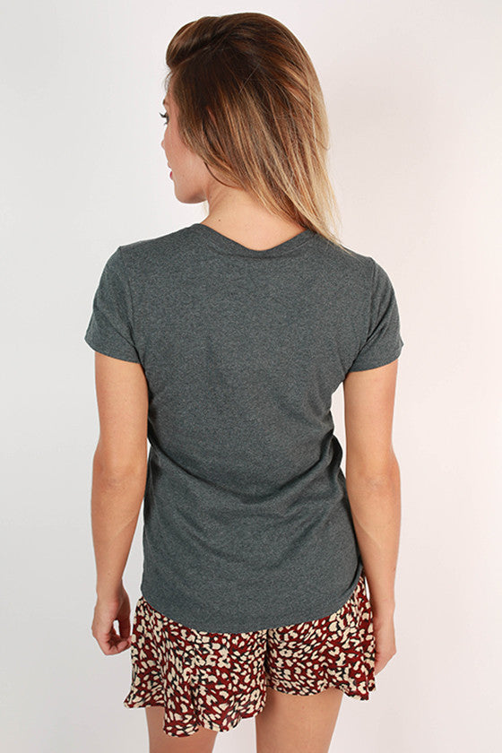 Leopard & Foil Crew Tee in Slate Mississippi State University