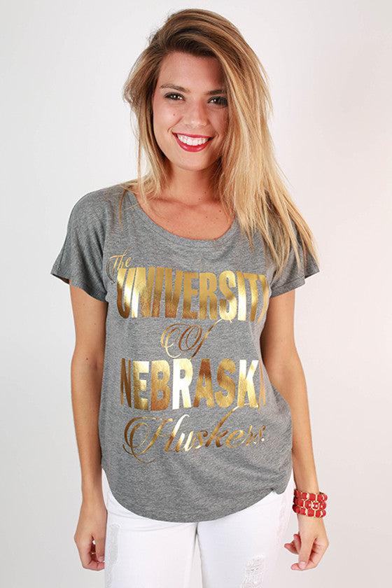 Metallic Foil Dolman Tee University Of Nebraska