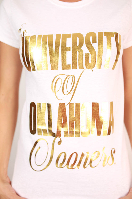 Metallic Foil Crew Tee University of Oklahoma