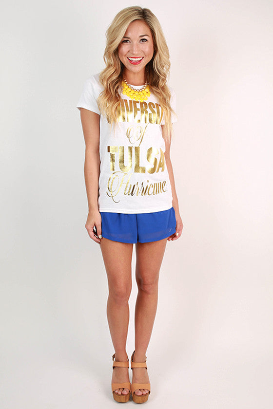 Metallic Foil Crew Tee University of Tulsa
