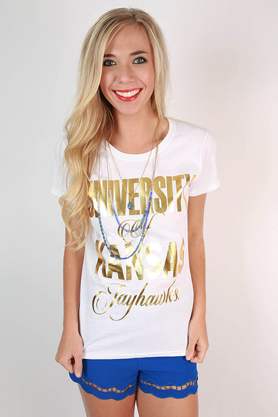Metallic Foil Crew Tee University of Kansas