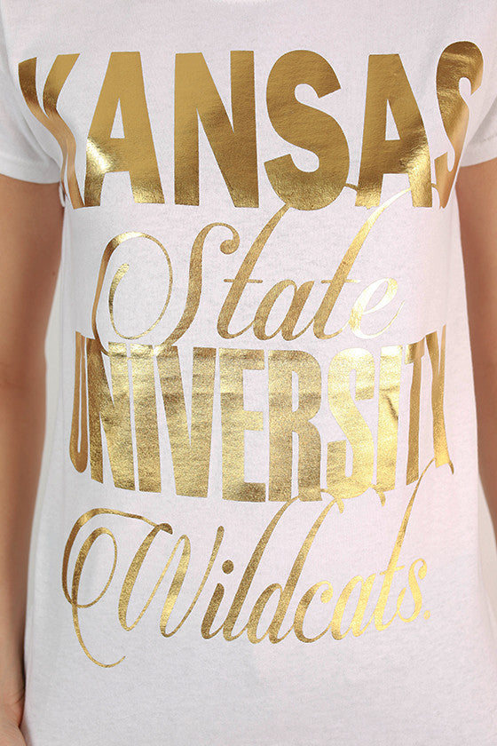 Metallic Foil Crew Tee Kansas State University