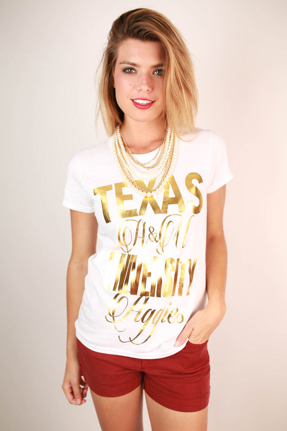 Metallic Foil Crew Tee Texas A & M University