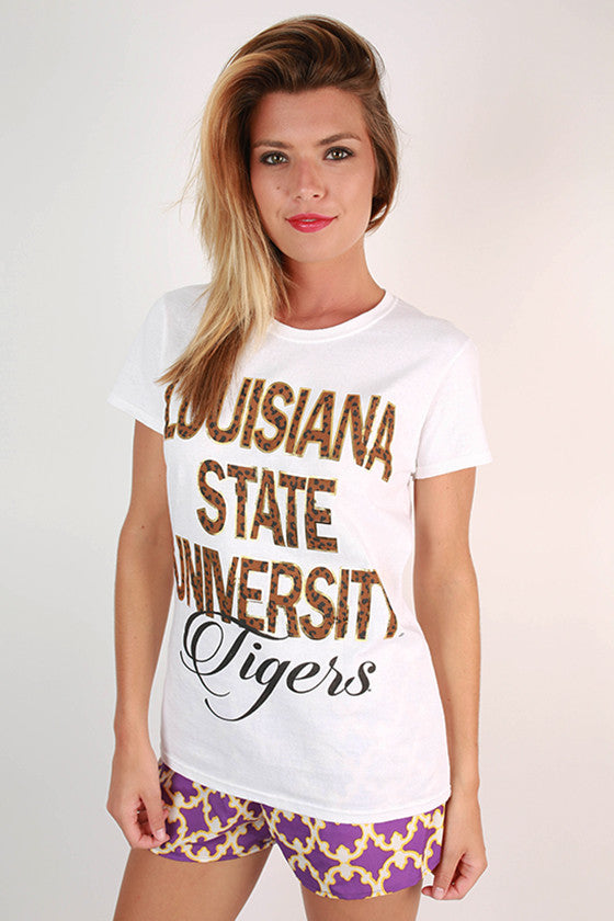 Leopard & Foil Crew Tee in White Louisiana State University
