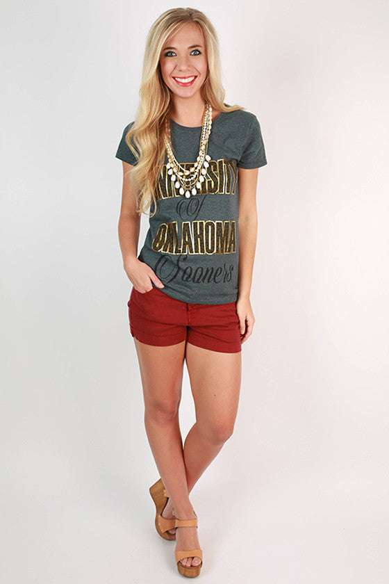 Leopard & Foil Crew Tee in Slate University of Oklahoma