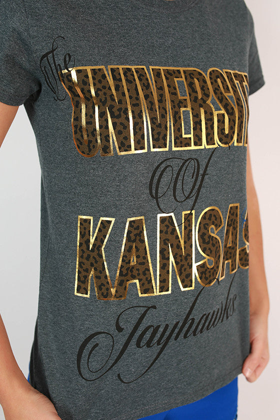 Leopard & Foil Crew Tee in Slate University of Kansas