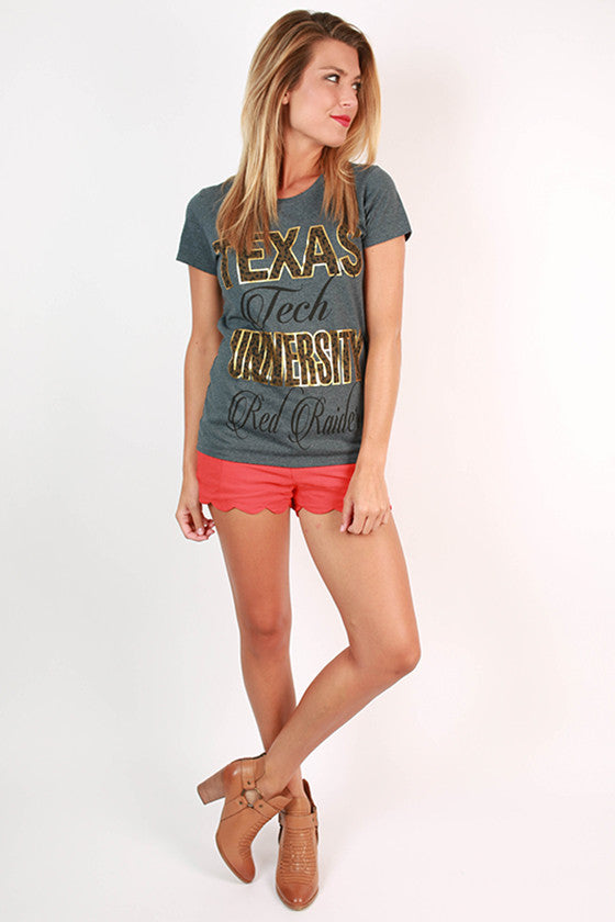 Leopard & Foil Crew Tee in Slate Texas Tech University