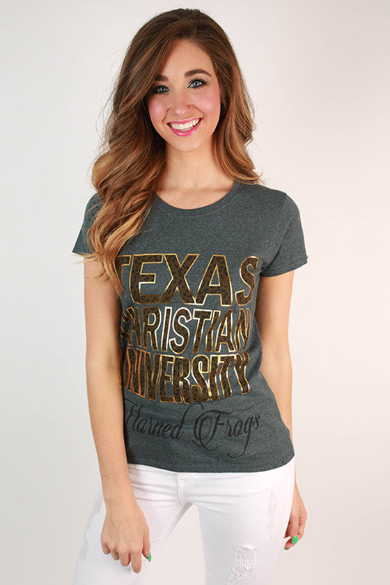 Leopard & Foil Crew Tee in Slate Texas Christian University