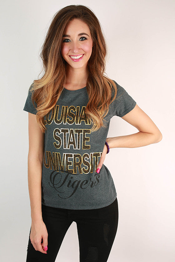 Leopard & Foil Crew Tee in Slate Louisiana State University
