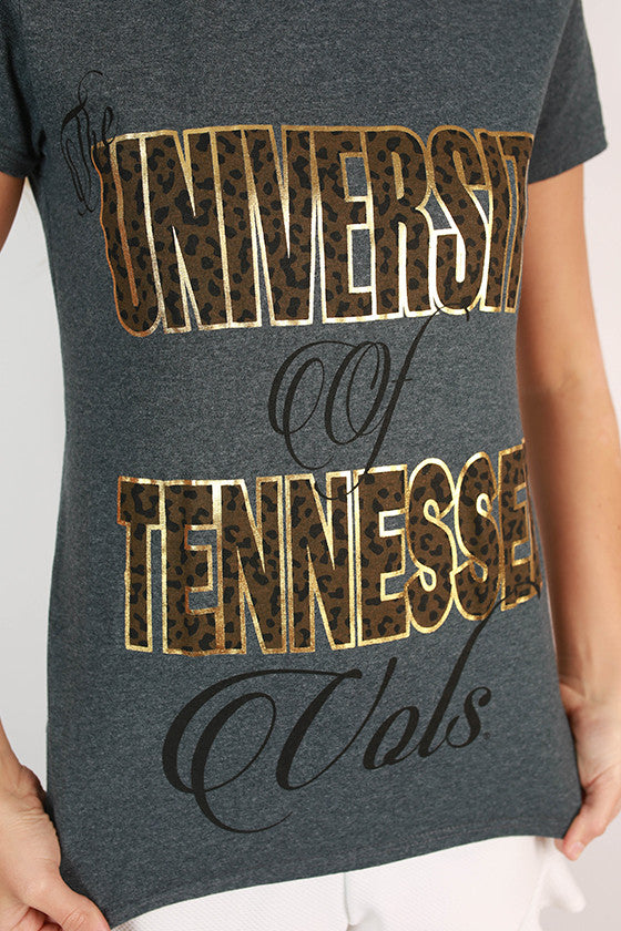 Leopard & Foil Crew Tee in Slate University of Tennessee
