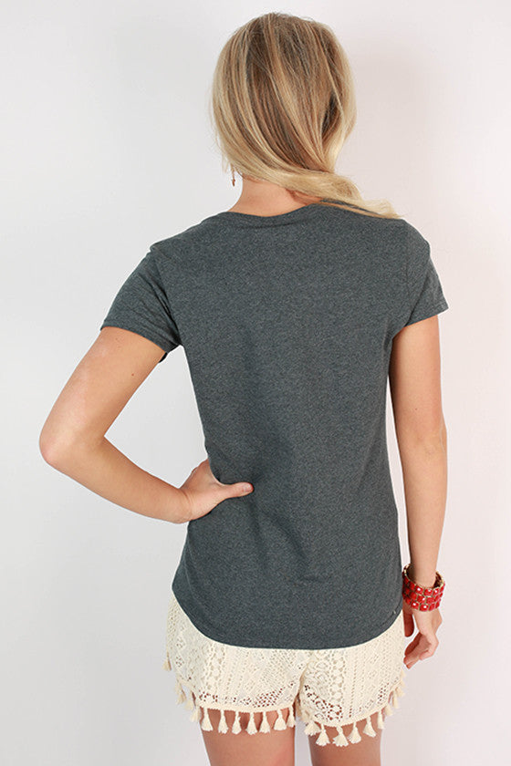 Leopard & Foil Crew Tee in Slate University of Georgia