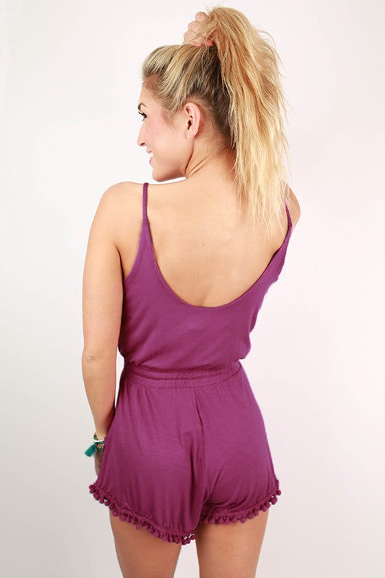 Riley Pom Romper in Orchid
