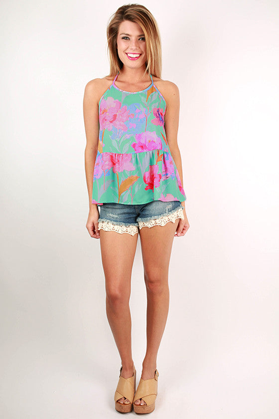 Made To Mingle Floral Halter Peplum Tank in Aqua Sky