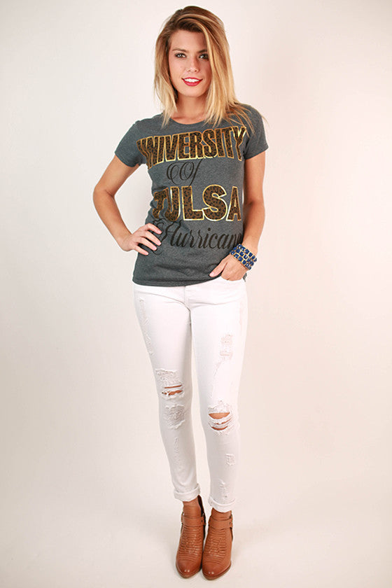 Leopard & Foil Crew Tee in Slate University of Tulsa