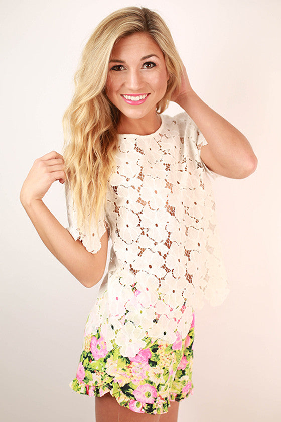 Dance to Daylight Crochet Top in White
