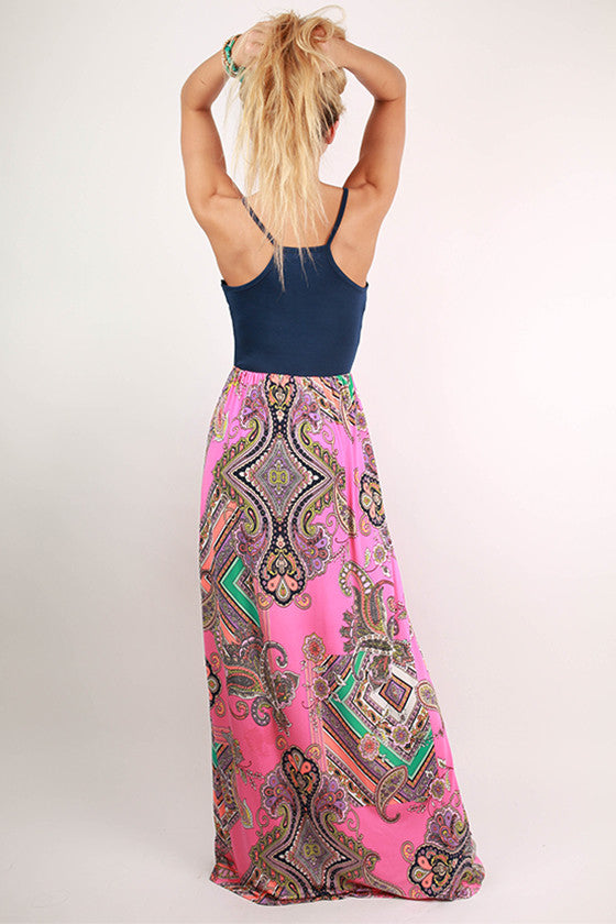 Sparks Fly Paisley Maxi Dress in Pink