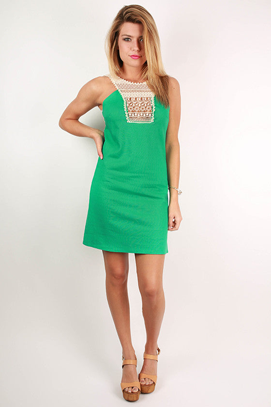 Make The Cut Crochet Dress in Jade