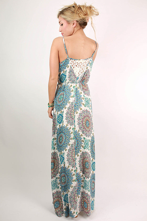 Catalina Island Time Paisley Maxi Dress in Blue