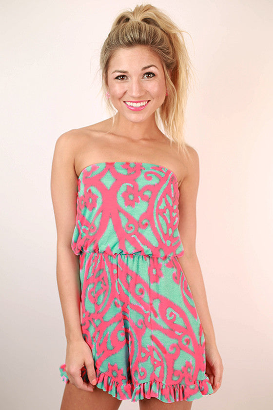 Sunshine Forever Print Romper in Neon Pink