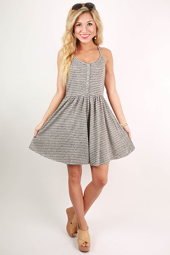 Visit To Venice Stripe Dress in Dark Grey