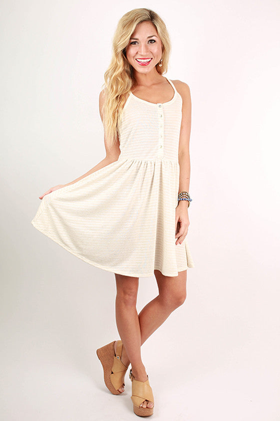 Visit To Venice Stripe Dress in Ivory