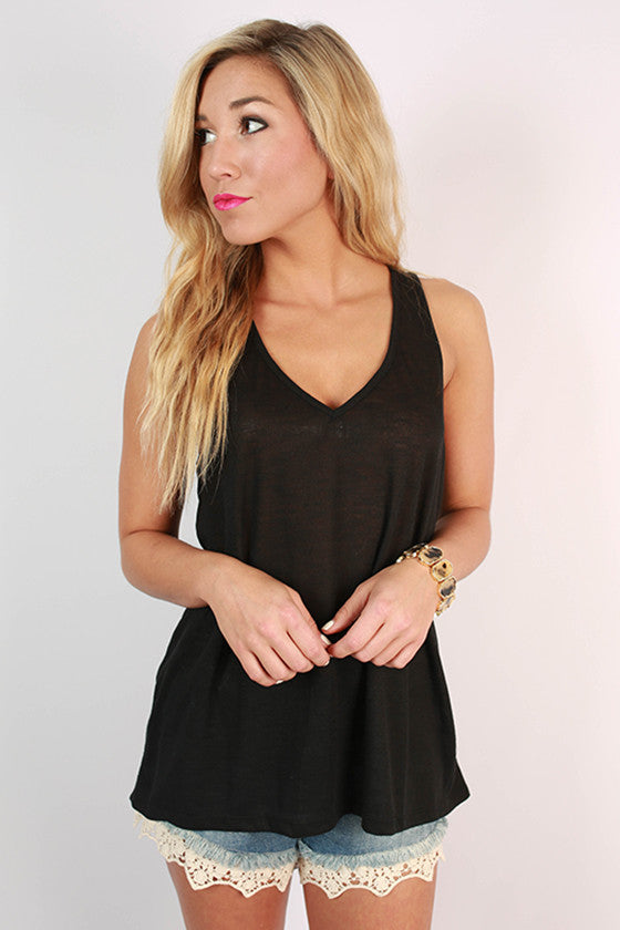 Out and About Racerback Tank in Black