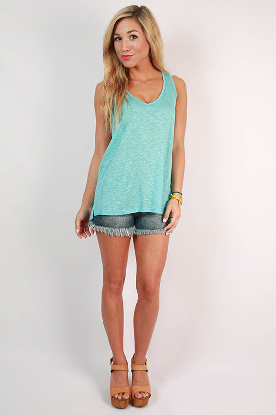 Out and About Racerback Tank in Sky Blue