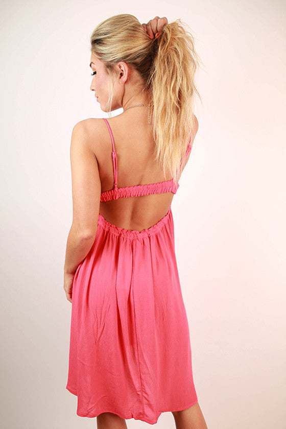 Surprise Date Night Open Back Dress in Raspberry