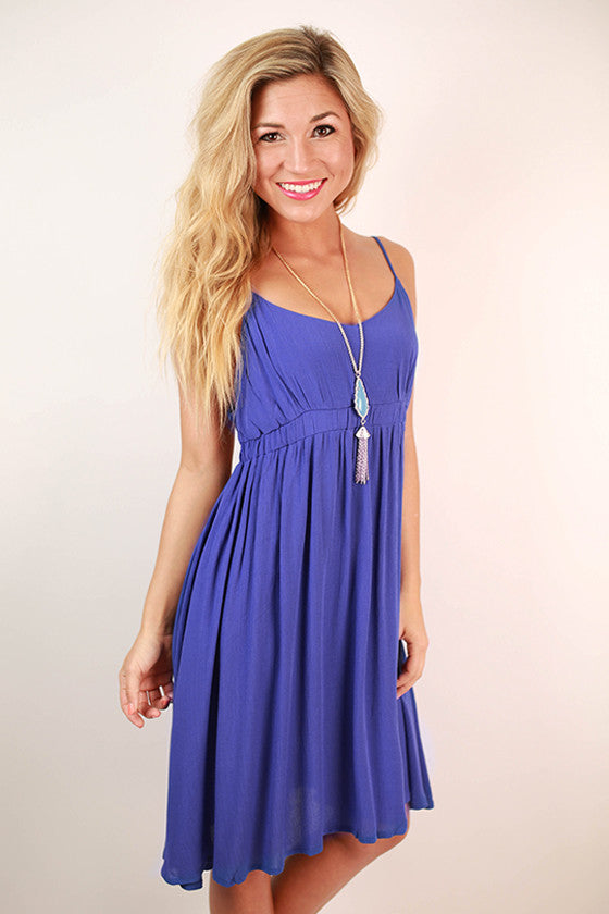 Surprise Date Night Open Back Dress in Royal Blue